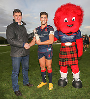 Ben Mosses of London Scottish receives his Man of the Match award after the Greene King IPA Championship match between London Scottish Football Club and Hartpury RFC at Richmond Athletic Ground, Richmond, United Kingdom on 28 October 2017. Photo by David Horn.