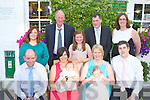 Cousins Ronan Fitzgerald Killorglin and Hannah May Melvin Dublin celebrated their christenings with their family in Kate Kearney's cottage, Beaufort on saturday front row l-r: John Fitzgerald, Mary Anne Leane, Ronan Fitzgerald, Siobhain, Hannah May and Tomás Melvin. Back row: Debra Fitzgerald, Davy Leane, Lauren Fitzgerald, John Melvin and Muiríosa Leane