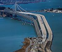 aerial photograph demoliton and construction eastern span San Francisco Oakland Bay Bridge