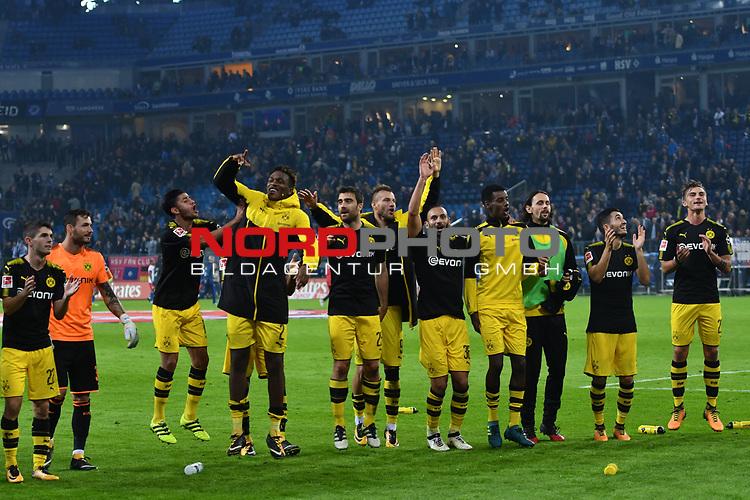 20.09.2016,  GER; 1.FBL Hamburger SV vs Borussia Dortmund im Bild die Dortmunder Mannschaft jubelt ueber den Sieg Foto © nordphoto / Witke *** Local Caption ***