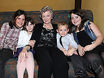 Olive Gallagher from Slane celebrating her 80th birthday in the Star and Crescent with grandaughter Grace Granger, great grandson Kevin Gallagher and great grandaughters Charlotte Lewton and Niamh Walsh. . Photo: Colin Bell/pressphotos.ie