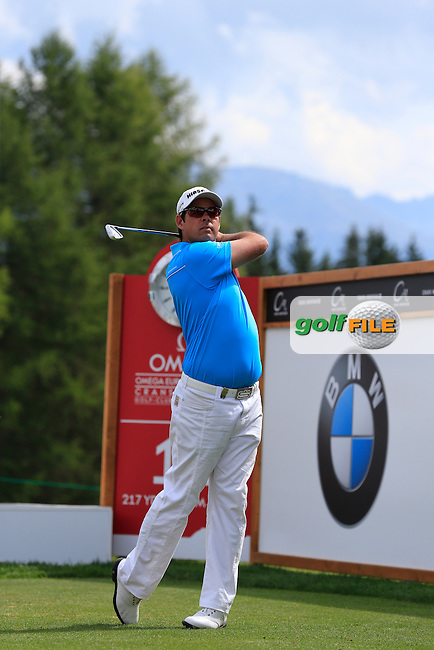 Jaco Van Zyl (RSA) tees off the 11th tee during Saturday's Round 3 of the 2013 Omega European Masters held at Crans Montana Golf Club, Crans-Sur-Sierre Switzerland. 7th September 2013.<br /> Picture: Eoin Clarke www.golffile.ie