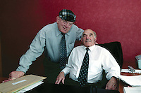 The late Independent TD Harry Blaney in his office in Dail Eireann with fellow independent Jackie Healy-Rae in 2002. The pair along with Mildred Fox and Tom Gildea had a 'special' arrangement with Bertie Ahern at the time.<br /> Picture by Don MacMonagle