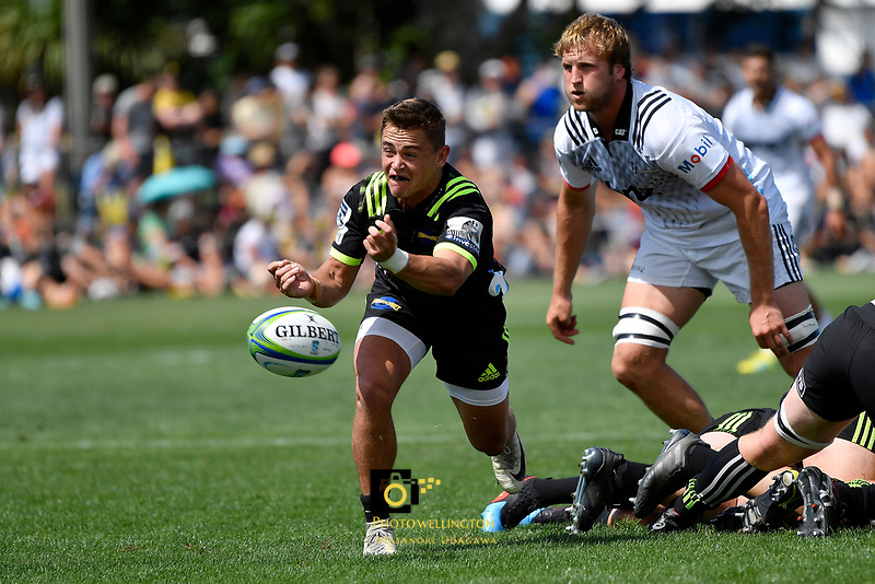 Hurricanes' Finlay Christie in action during the Super Rugby Preseason - Hurricanes v Crusaders at Levin Domain, Levin, New Zealand on Saturday 2 February 2019. <br /> Photo by Masanori Udagawa. <br /> www.photowellington.photoshelter.com