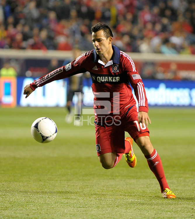 Chicago Fire midfielder Marco Pappa (16) makes a move with the ball.  The Chicago Fire defeated the Philadelphia Union 1-0 at Toyota Park in Bridgeview, IL on March 24, 2012.