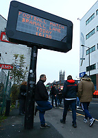 24th November 2019; Bramall Lane, Sheffield, Yorkshire, England; English Premier League Football, Sheffield United versus Manchester United; A fan rests against an LED information sign before the match - Strictly Editorial Use Only. No use with unauthorized audio, video, data, fixture lists, club/league logos or 'live' services. Online in-match use limited to 120 images, no video emulation. No use in betting, games or single club/league/player publications