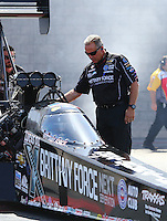 Apr 11, 2015; Las Vegas, NV, USA; Todd Smith , crew chief for NHRA top fuel driver Brittany Force during qualifying for the Summitracing.com Nationals at The Strip at Las Vegas Motor Speedway. Mandatory Credit: Mark J. Rebilas-
