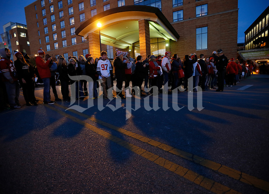 Fans wait for the Ohio State Buckeyes to head to the Skull Session in St. John Arena before the college football game between the Ohio State Buckeyes and the Minnesota Golden Gophers at Ohio Stadium in Columbus, Saturday night, November 7, 2015. (The Columbus Dispatch / Eamon Queeney)