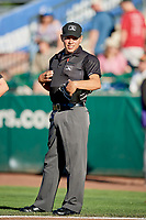 Home plate umpire Rene Gallagos before the game between the Ogden Raptors and the Grand Junction Rockiesat Lindquist Field on June 25, 2018 in Ogden, Utah. The Raptors defeated the Rockies 5-3. (Stephen Smith/Four Seam Images)