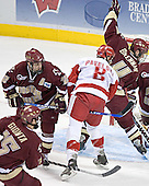 (Stephen Gionta) Chris Collins, Joe Pavelski, Mike Brennan - The University of Wisconsin Badgers defeated the Boston College Eagles 2-1 on Saturday, April 8, 2006, at the Bradley Center in Milwaukee, Wisconsin in the 2006 Frozen Four Final to take the national Title.