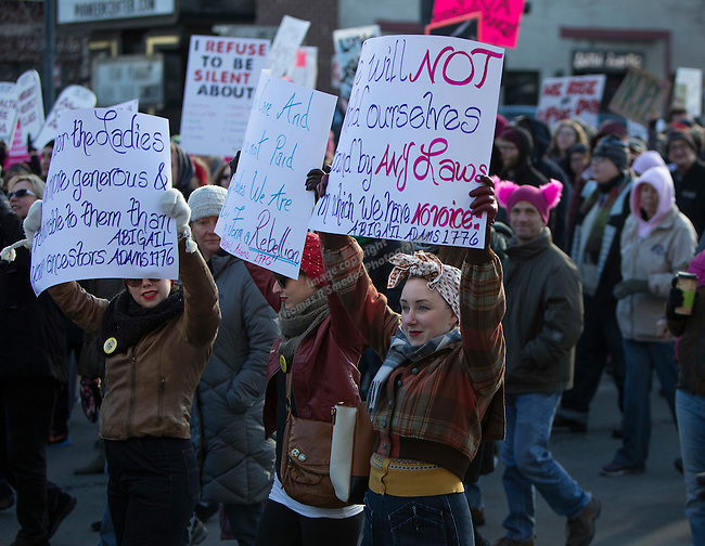 A photograph from the Reno Women's March on Washington event on Virginia Street in downtown Reno on Saturday, Jan. 21, 2017.
