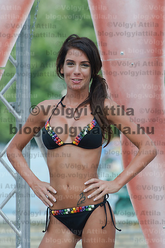 Alexandra Varga attends the Miss Bikini Hungary beauty contest held in Budapest, Hungary on August 06, 2011. ATTILA VOLGYI