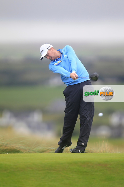 Simon Ward (Co. Louth) on the 2nd tee during the South of Ireland Amateur Open Championship Final at Lahinch Golf Club  31th July 2013 <br /> Picture:  Thos Caffrey / www.golffile.ie