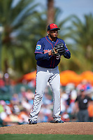 Minnesota Twins relief pitcher Fernando Abad (58) delivers a pitch during a Spring Training game against the Baltimore Orioles on March 7, 2016 at Ed Smith Stadium in Sarasota, Florida.  Minnesota defeated Baltimore 3-0.  (Mike Janes/Four Seam Images)