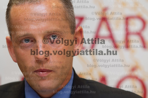 "Norbert ""Norbi"" Schobert talks during a press conference of his franchise called Update in Budapest, Hungary on May 18, 2010. ATTILA VOLGYI"