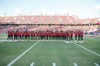 Stanford, CA - September 8, 2018: Stanford Women's Soccer team is honored during  Stanford vs USC football game Saturday night at Stanford Stadium.<br /> <br /> Score was USC3, Stanford 17.