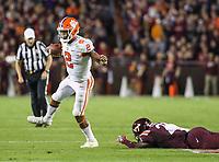 Blacksburg, VA - September 30, 2017: Clemson Tigers quarterback Kelly Bryant (2) avoids a tackle during the game between Clemson and VA Tech at  Lane Stadium in Blacksburg, VA.   (Photo by Elliott Brown/Media Images International)