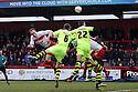 David Gray of Stevenage heads for goal. Stevenage v Yeovil Town- npower League 1 -  Lamex Stadium, Stevenage - 13th April, 2013. © Kevin Coleman 2013.. . . . .. . . .  . . .  .