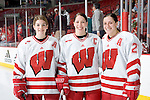 MADISON, WI - FEBRUARY 11: The captains of the Wisconsin Badgers women's hockey team pose for a photo prior to the game against the Ohio State Buckeyes at the Kohl Center on February 11, 2007 in Madison, Wisconsin. The Badgers beat the Buckeyes 3-2. (Photo by David Stluka)