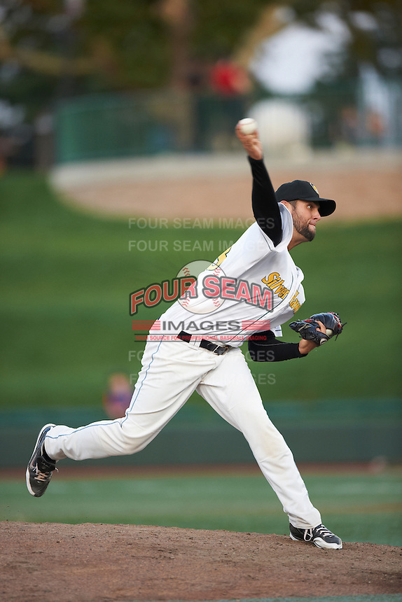 South Bend Silver Hawks pitcher Conrad Flynn #28 during a Midwest League game against the West Michigan Whitecaps at Coveleski Stadium on August 15, 2012 in South Bend, Indiana.  West Michigan defeated South bend 7-1.  (Mike Janes/Four Seam Images)