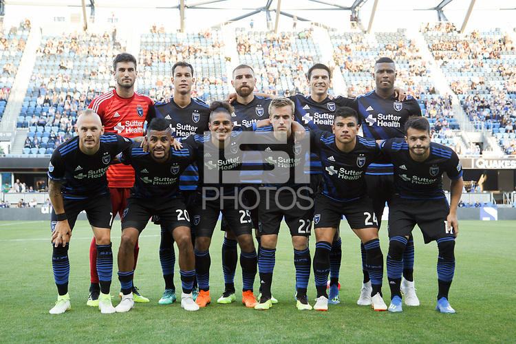 San Jose, CA - Saturday July 28, 2018: San Jose Earthquakes Starting Eleven during a Major League Soccer (MLS) match between the San Jose Earthquakes and Real Salt Lake at Avaya Stadium.