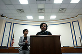 United States Representative Ayanna Pressley (Democrat of Massachusetts) and United States Representative Ilhan Omar (Democrat of Minnesota) speak during a press conference at the United States Capitol in Washington D.C., U.S., on Thursday, December 5, 2019. <br /> <br /> Photographer: Stefani Reynolds/CNP