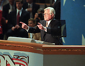 """Chicago, Il - August 29, 1996 -- United States Senator Edward M. """"Ted"""" Kennedy (Democrat of Massachusetts) makes remarks on the final night of the 1996 Democratic National Convention at the United Center in Chicago, Illinois on Thursday, August 29, 1996.Credit: Ron Sachs / CNP"""