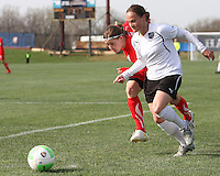 Rebecca Moros #19 of the Washington Freedom races to catch up to Lyndsey Patterson #16 of the Philadelphia Independence during a WPS pre season match at the Maryland Soccerplex on March 27 2010 in Boyds, Maryland. The game ended in a 0-0 tie.