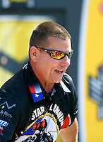 Jun 12, 2016; Englishtown, NJ, USA; NHRA funny car driver Jim Campbell during the Summernationals at Old Bridge Township Raceway Park. Mandatory Credit: Mark J. Rebilas-USA TODAY Sports
