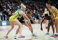 15.09.2018 South Africa's Maryka Holtzhausen and Australia's Jo Weston in action during the Australia v South Africa netball test match at Spark Arena in Auckland. Mandatory Photo Credit ©Michael Bradley.