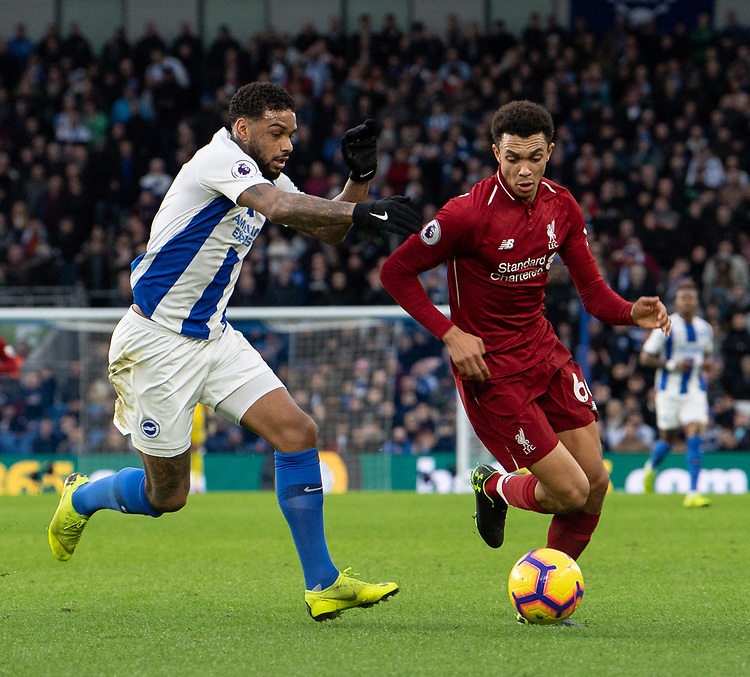 Brighton & Hove Albion's Jurgen Locadiavies  (left) for possession with Liverpool's Trent Alexander-Arnold (right) <br /> <br /> Photographer David Horton/CameraSport<br /> <br /> The Premier League - Brighton and Hove Albion v Liverpool - Saturday 12th January 2019 - The Amex Stadium - Brighton<br /> <br /> World Copyright © 2018 CameraSport. All rights reserved. 43 Linden Ave. Countesthorpe. Leicester. England. LE8 5PG - Tel: +44 (0) 116 277 4147 - admin@camerasport.com - www.camerasport.com