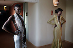 DAKAR, SENEGAL-JUNE 18: Awa Sanoko (l) , a model from Ivory Coast, dressed by Senegalese (New York based) designer Versaiilles at a fitting before a show at Dakar Fashion Week on June 19, 2014, in Dakar, Senegal. Seventeen Senegalese, African and foreign-based designers showed their collections during the 12th edition of Dakar Fashion week. (Photo by Per-Anders Pettersson)