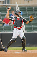 Catcher Kevin Dubler #35 of the Kannapolis Intimidators throws the ball back t the pitcher during a South Atlantic League game against the Delmarva Shorebirds at Fieldcrest Cannon Stadium May 14, 2010, in Kannapolis, North Carolina.  Photo by Brian Westerholt / Four Seam Images
