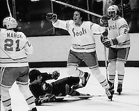 Seal goal..by Bob Murdoch against the Buffalo Sabers.<br />(1876 photo/Ron Riesterer)