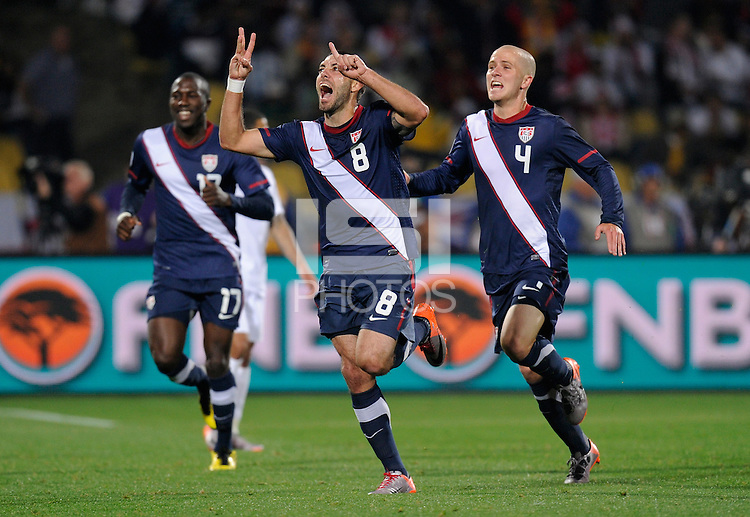 Clint Dempsey of USA celebrates his goal, 1-1 at the half. USA vs England in the 2010 FIFA World Cup at Royal Bafokeng Stadium in Rustenburg, South Africa on June 12, 2010.