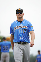 Akron RubberDucks manager David Wallace (17) during game against the Trenton Thunder at ARM & HAMMER Park on July 14, 2014 in Trenton, NJ.  Akron defeated Trenton 5-2.  (Tomasso DeRosa/Four Seam Images)