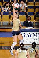 12 October 2008:  FIU outside hitter Isadora Rangel (14) attempts a kill in the FIU victory 3-0 (25-18, 25-17, 25-20) over North Texas at Panther Arena in Miami, Florida.