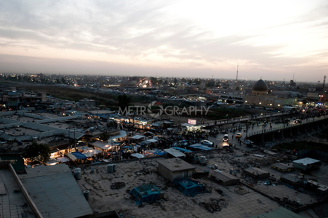 KIRKUK, IRAQ: The city of Kirkuk as seen from the citadel...Kirkuk, the oil-rich city in northern Iraq, is home to Kurds, Arabs, Turkomen, Christians, Kakayi, and numerous other ethnicities. Since 2003, thousands of its residents have been killed or injured in terrorist attacks...As the US military leaves Iraq, the future of this violent and ethnically diverse city remains unsure...Photo by Pazhar Mohammad/Metrography