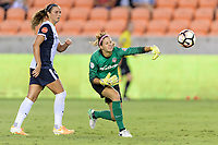Houston, TX - Saturday July 15, 2017: Shelina Zadorsky and Stephanie Labbé during a regular season National Women's Soccer League (NWSL) match between the Houston Dash and the Washington Spirit at BBVA Compass Stadium.
