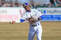 Wisconsin Timber Rattlers shortstop Luis Aviles (6) warms up prior to a game against the Peoria Chiefs on April 12th, 2015 at Fox Cities Stadium in Appleton, Wisconsin.  Peoria defeated Wisconsin 11-1.  (Brad Krause/Four Seam Images)