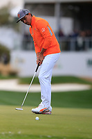 Rickie Fowler (USA) on the 17th green during the final round of the Waste Management Phoenix Open, TPC Scottsdale, Scottsdale, Arisona, USA. 03/02/2019.<br /> Picture Fran Caffrey / Golffile.ie<br /> <br /> All photo usage must carry mandatory copyright credit (&copy; Golffile | Fran Caffrey)