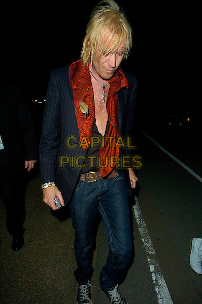 RHYS IFANS.Perrier and Paul & Joe - launch party, Serpentine Gallery, London, England..August 29th, 2007.full length jeans denim black shirt plunging neckline chest red scarf converse trainers sneakers.CAP/CAN.©Can Nguyen/Capital Pictures