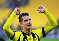 Andrija Kaluderovic celebrates winning the A-League football match between Wellington Phoenix and Melbourne Victory at Westpac Stadium in Wellington, New Zealand on Friday, 10 January 2018. Photo: Dave Lintott / lintottphoto.co.nz