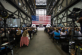 In this photo released by the National Aeronautics and Space Administration (NASA) United States Vice President Mike Pence addresses NASA employees, Thursday, July 6, 2017, at the Vehicle Assembly Building at NASA's Kennedy Space Center (KSC) in Cape Canaveral, Florida. The Vice President thanked employees for advancing American leadership in space, before going on a tour of the center that highlighted the public-private partnerships at KSC, as both NASA and commercial companies prepare to launch American astronauts from the multi-user spaceport. <br /> Mandatory Credit: Aubrey Gemignani / NASA via CNP