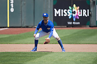 \Whit Merrifield (3) of the Omaha Storm Chasers on defense against the Memphis Redbirds in Pacific Coast League action at Werner Park on April 22, 2015 in Papillion, Nebraska.  (Stephen Smith/Four Seam Images)