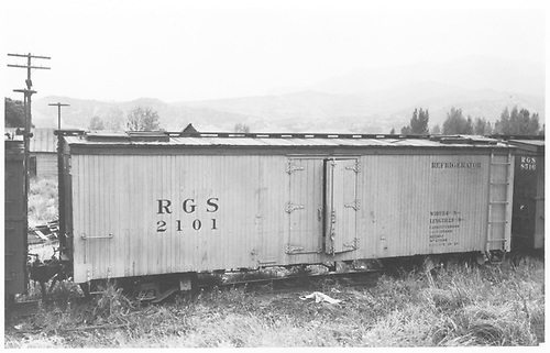 RGS reefer 2101 in yard.<br /> RGS  Ridgway, CO  Taken by Best, Gerald M. - 1940