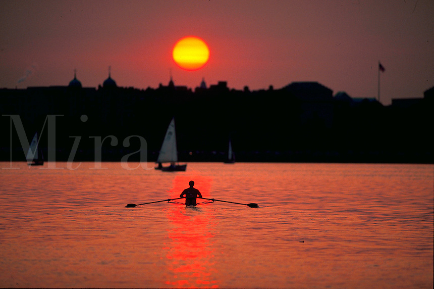 Lone figure sculling in a shell on the Charles River at sunset.