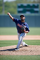 Minnesota Twins pitcher Moises Gomez (65) during a Minor League Spring Training game against the Tampa Bay Rays on March 15, 2018 at CenturyLink Sports Complex in Fort Myers, Florida.  (Mike Janes/Four Seam Images)