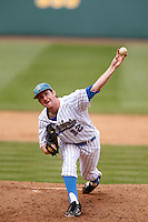 Grant Watson #12 of the UCLA Bruins pitches against the Washington Huskies at Jackie Robinson Stadium on March 17, 2013 in Los Angeles, California. (Larry Goren/Four Seam Images)