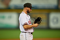 Richmond Flying Squirrels third baseman Will Maddox (46) during an Eastern League game against the Binghamton Rumble Ponies on May 29, 2019 at The Diamond in Richmond, Virginia.  Binghamton defeated Richmond 9-5 in ten innings.  (Mike Janes/Four Seam Images)